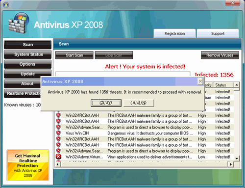 自動的に検索画面が表示され、偽の警告画像。Antivirus XP 2008 has found 1356 threats It is recommended to procceed with removal.